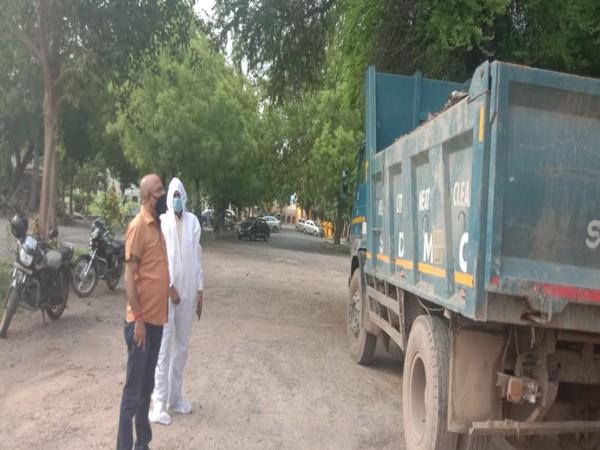 South Delhi Municipal Corporation (SDMC) disposing used covid protective gears.