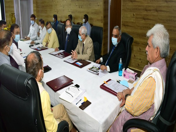 Jammu and Kashmir Lieutenant Governor Manoj Sinha reviewing the master plan for the Mata Vaishno Devi shrine.