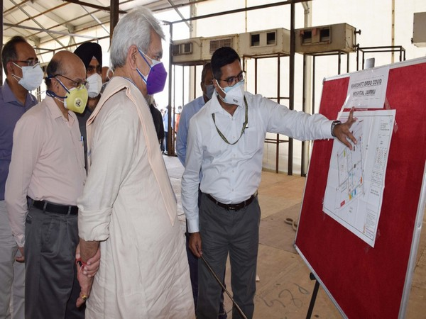 Lieutenant Governor of Jammu and Kashmir Manoj Sinha at Government Medical College (Photo/ANI)