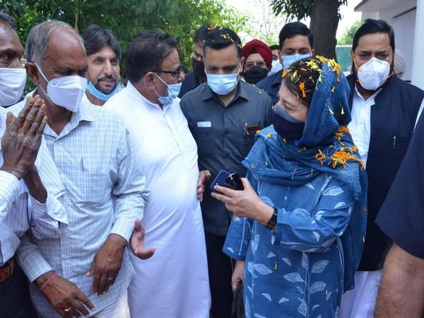 PDP chief Mehbooba Mufti on Jammu tour (Photo/ANI)