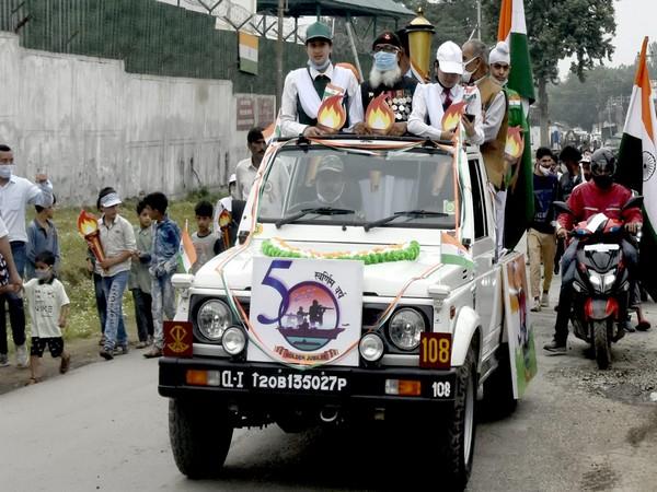 Swarnim Vijay Varsh victory flame ceremony in J-K's Badami Bagh Cantonment. (Photo/ANI)