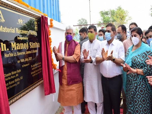 J-K Lt Governor Manoj Sinha inaugurates JMC's Material Recovery facility at Bandurakh (Photo/ANI)
