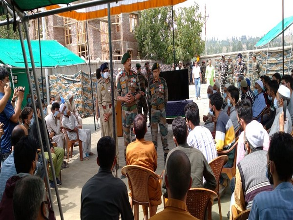 GOC Chinar Corps while interacting with the families of active terrorists in Shopian on Tuesday.