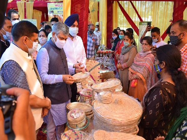 Union Minister Ashwini Vaishnaw, at exhibition stalls installed by various departments in Reasi district