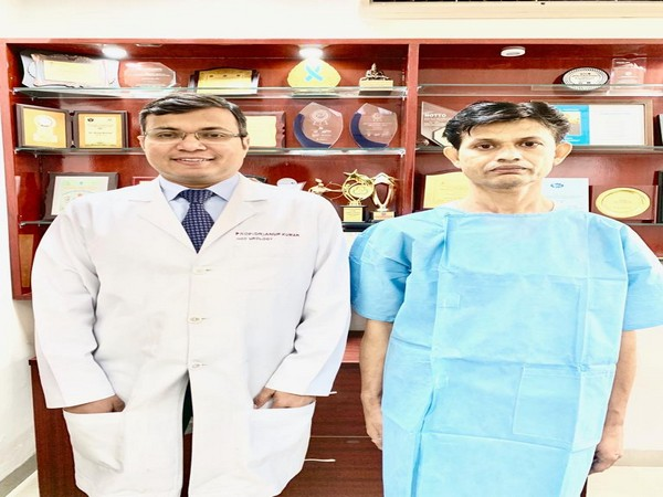 Dr Anup Kumar, head of urology and renal transplant at Safdarjung hospital with his patient Sushil Rastogi. Photo/ANI