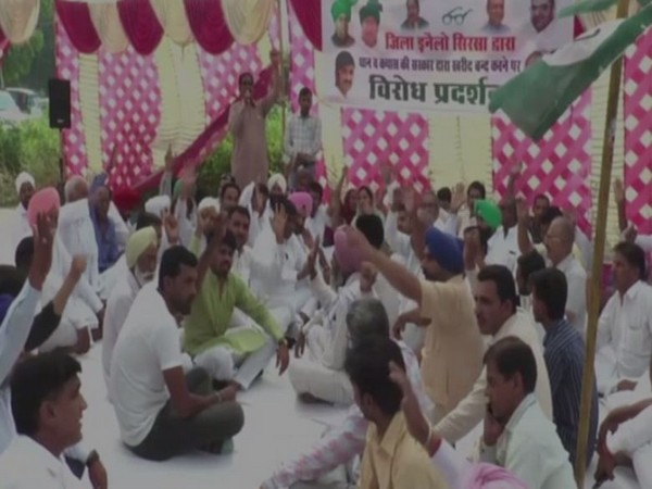 INLD members at the protest in Sirsa on Wednesday