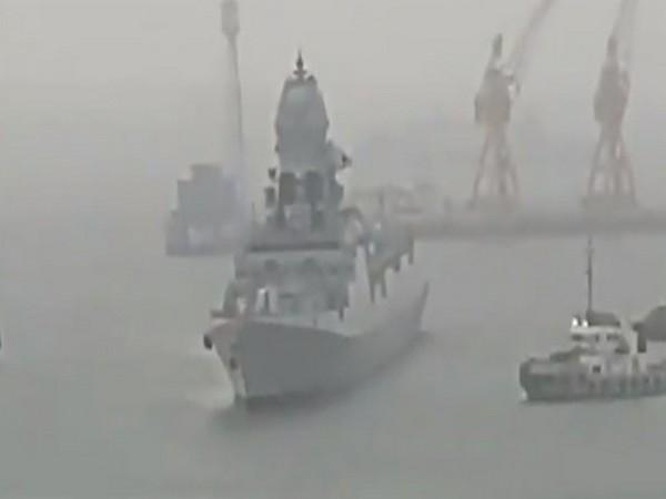 Visual of INS Kochi entering Mumbai harbour