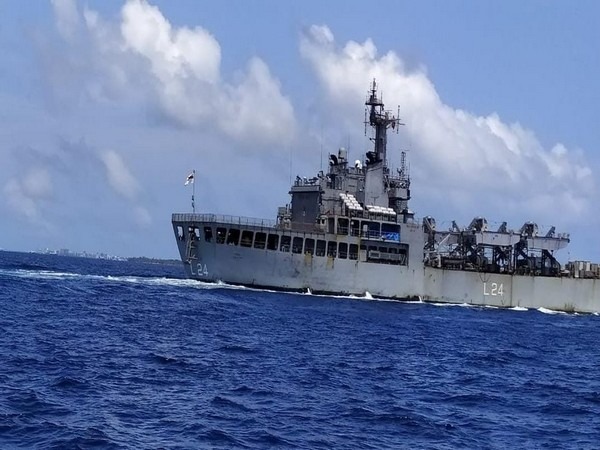 INS Airavat in Male. (Photo credit: Official twitter)