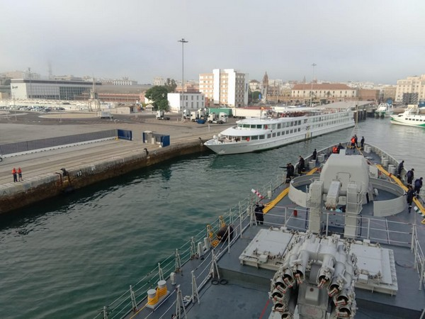 INS Tarkash made a port call at Cadiz, Spain on Monday for a three-day visit. (Picture Credit: Ministry of Defence)