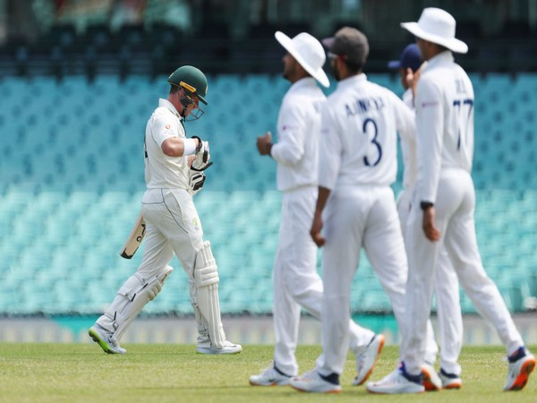 Indian players celebrating after taking a wicket against Australia A (Photo/ BCCI Twiiter)