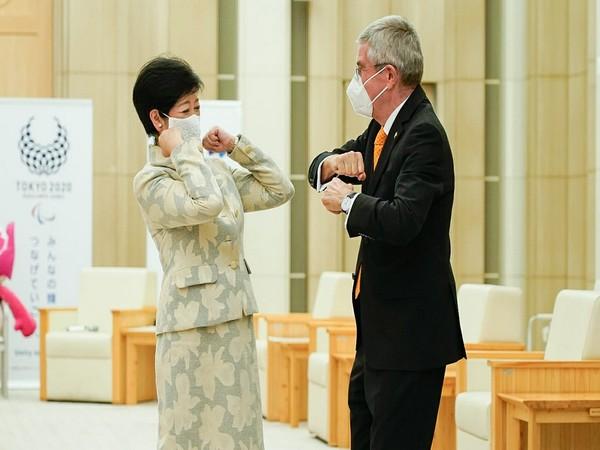 Governor of Tokyo Yuriko Koike and IOC President Thomas Bach (Photo/ IOC Media Twitter)
