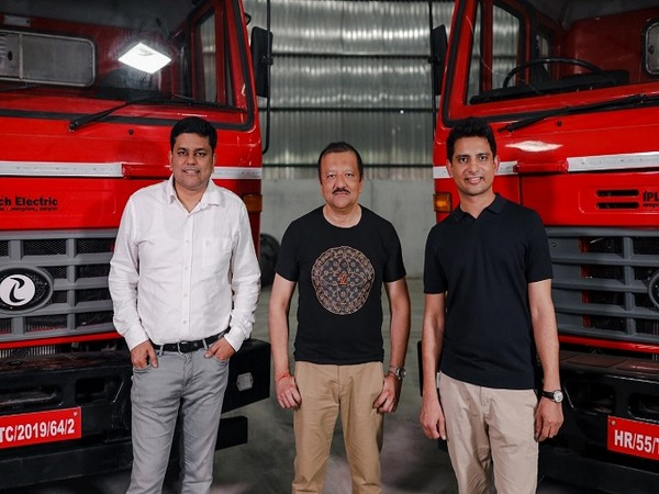 Chetan Singhal, Sid Das and Subodh Yadav with IPLT Rhino 5536 Electric Truck