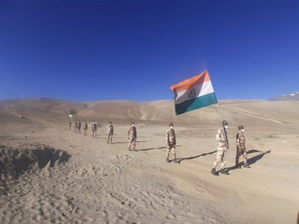 ITBP jawans celebrate Independence Day at an altitude of 16,000 feet in Ladakh (Photo/ANI)