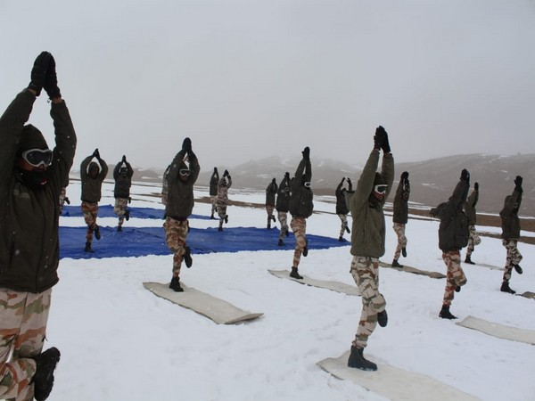 ITBP personnel performs Yoga at height of 18,000 ft in Ladakh.