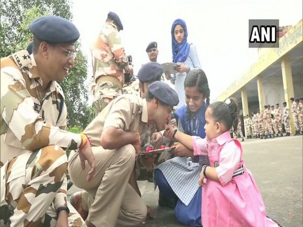 School students celebrated Raksha Bandhan with ITBP soldiers in Udhampur on Wednesday. Photo/ANI