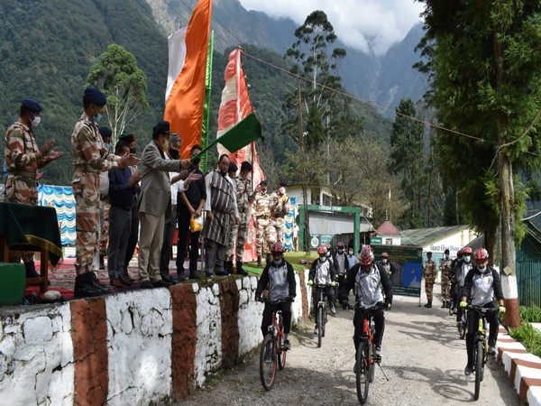 ITBP launched a cycling expedition from its Pegong base in Sikkim to border villages of the state. (Photo/ANI)