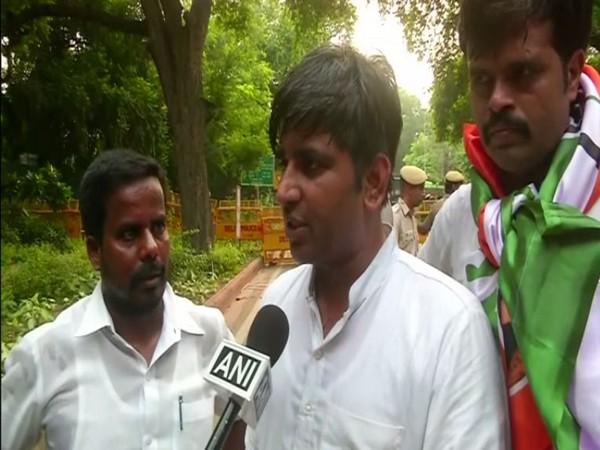 Amrish Ranjan Pandey, Media Head of Youth Congress speaking to ANI in New Delhi on Wednesday. Photo/ANI
