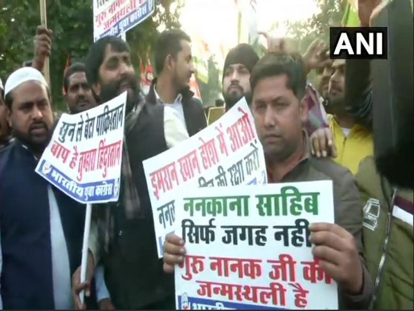 Indian Youth Congress members protesting against Pakistan on the Nankana Sahib attack in New Delhi on Saturday. Photo/ANI