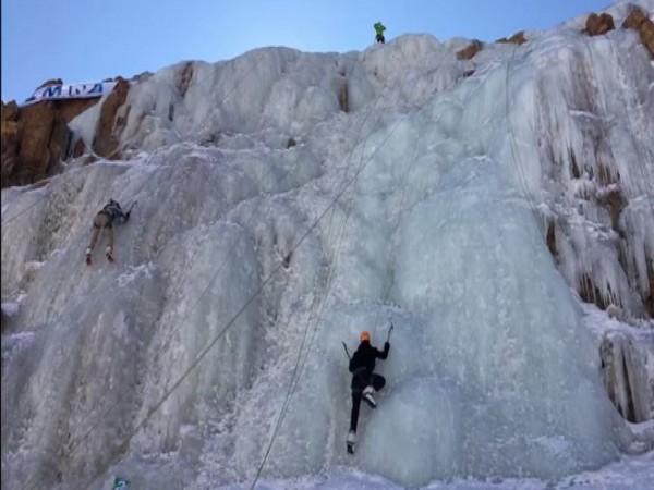 Ladakh Mountaineering Association organises Ice Climbing festival at Gangles Village on Sunday (Photo/ANI)