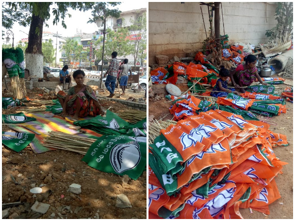 People making flags to be used in poll campaigning in Odisha