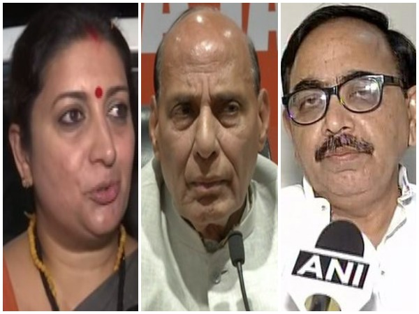 BJP leaders Smriti Zubin Irani, Rajnath Singh and Mahendra Nath Pandey secured place in Modi's new cabinet. Photo/ANI