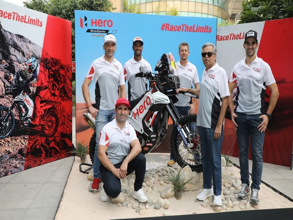 Pawan Munjal, Chairman, Hero MotoCorp with Hero MotoSports Team Rally riders: Joaquim Rodrigues, CS Santosh, Oriol Mena and Paulo Goncalves at the team announcement for DAKAR Rally 2020