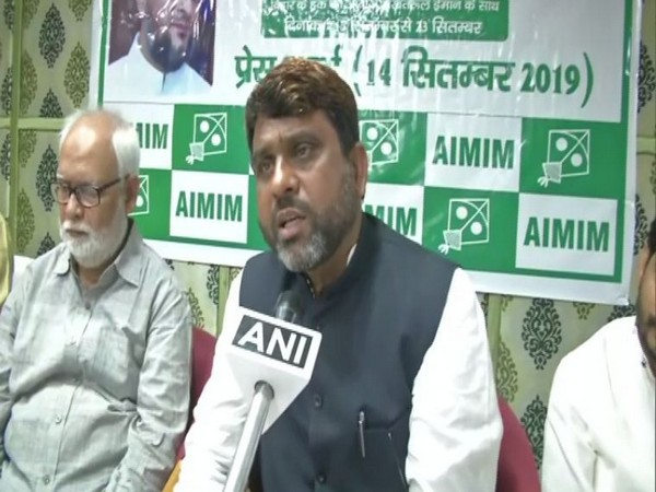 AIMIM Bihar unit president Akhtarul Iman speaking to ANI on Saturday in Patna. Photo/ANI