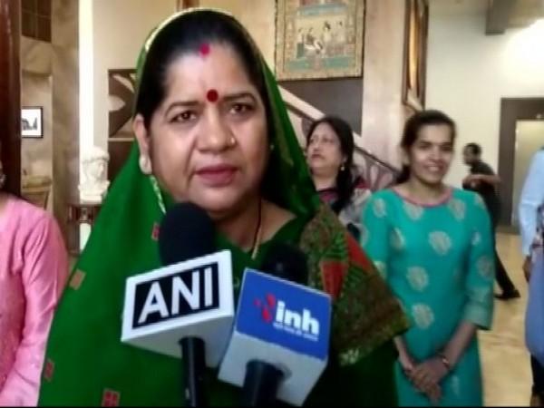 Madhya Pradesh Minister of Women and Child Development Imarti Devi speaking to reporters on Sunday.