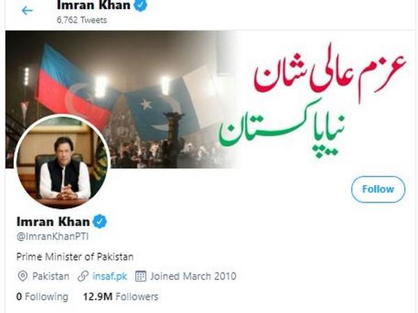 Twitter account of Pakistan Prime Minister Imran Khan