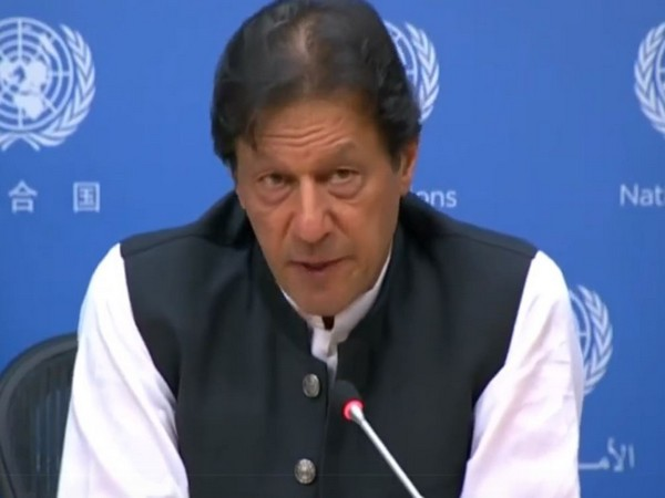 Pakistan Prime Minister Imran Khan speaking at a press conference in New York on Tuesday.