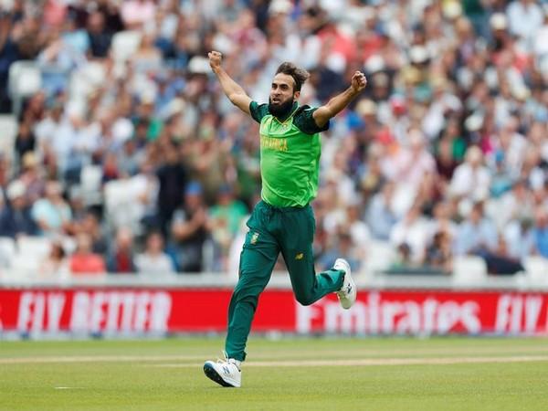 South Africa leg-spinner Imran Tahir celebrating after taking wicket.