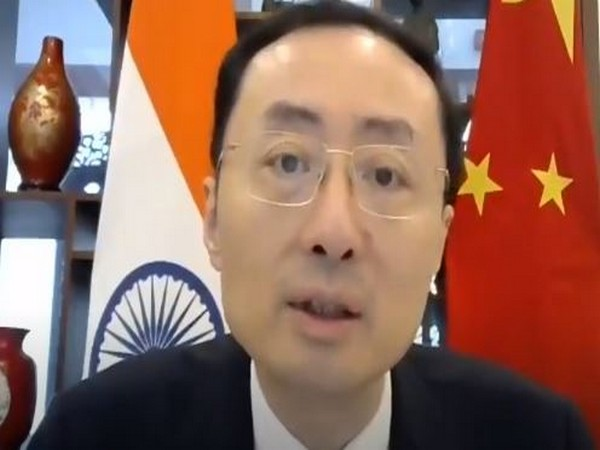 Chinese Ambassador to India Sun Weidong speaking at the webinar on 'India-China relations: The way forward'. Photo/ANI