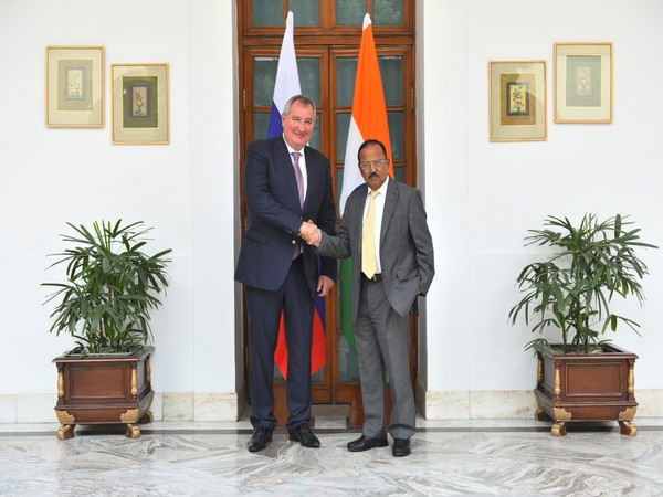Director General of Russia's ROSCOSMOS Dmitry Rogozin with NSA Ajit Doval on Thursday.