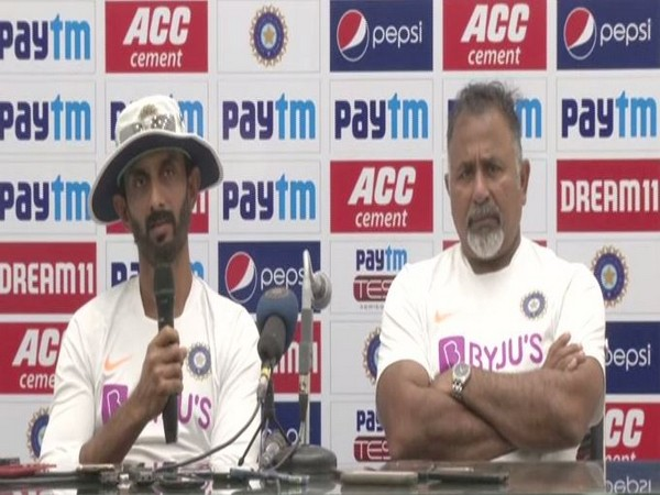 India's batting coach Vikram Rathour (left) with bowling coach Bharat Arun (right) during a press conference on Saturday in Indore. Photo/ANI