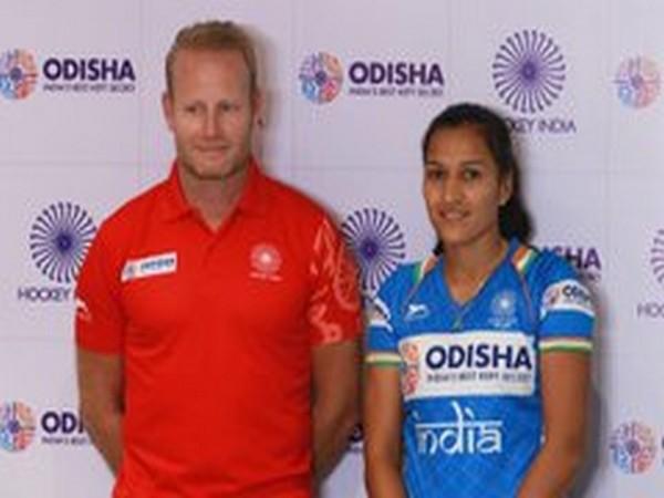 India women skipper Rani (R) and coach Sjoerd Marijne (L) (Photo/Hockey India Twitter)
