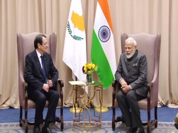 Prime Minister Narendra Modi meets Cyprus President Nicos Anastasiades in New York on Thursday. (Photo/ANI)