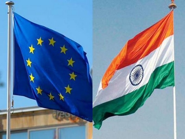 European Union and Indian flags