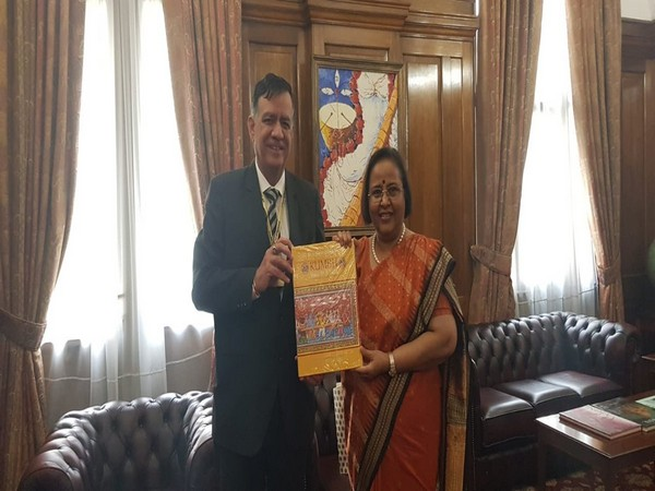 India's High Commissioner to the UK Ruchi Ghanashyam meets Uttar Pradesh Cabinet Minister Satish Mahana in London on Thursday. (Photo Credits: Indian High Commission/ Twitter)