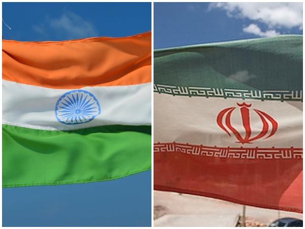 India flag (L) and Iran flag (R)