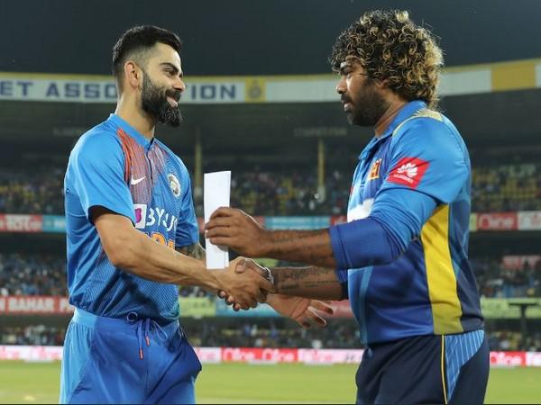India skipper Virat Kohli (left) with Sri Lanka captain Lasith Malinga (right). (Photo/ BCCI Twitter)