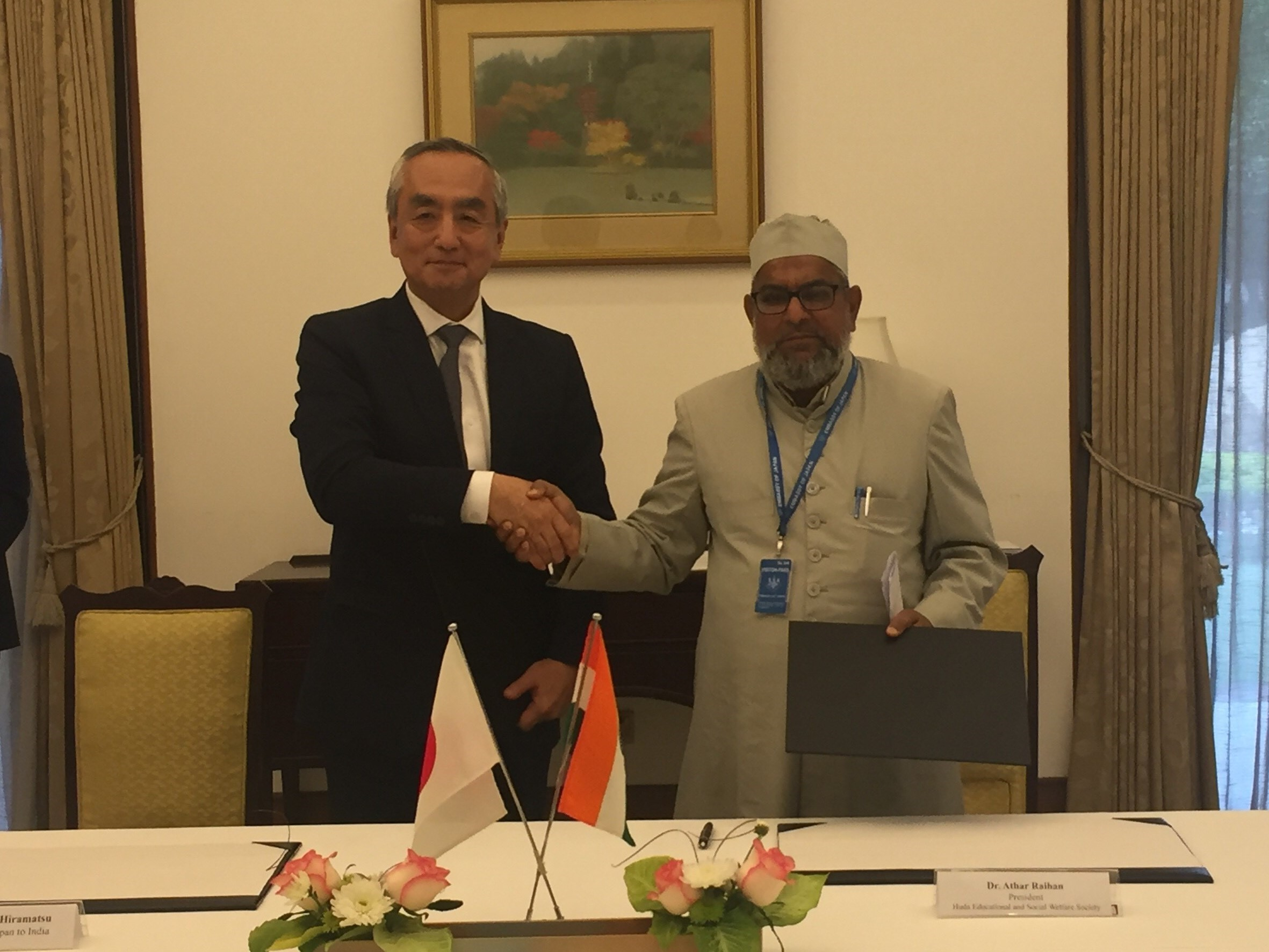 Two projects under the Grant Assistance for Grassroots Projects (GGP) signed at the Japan Embassy in New Delhi on Tuesday.