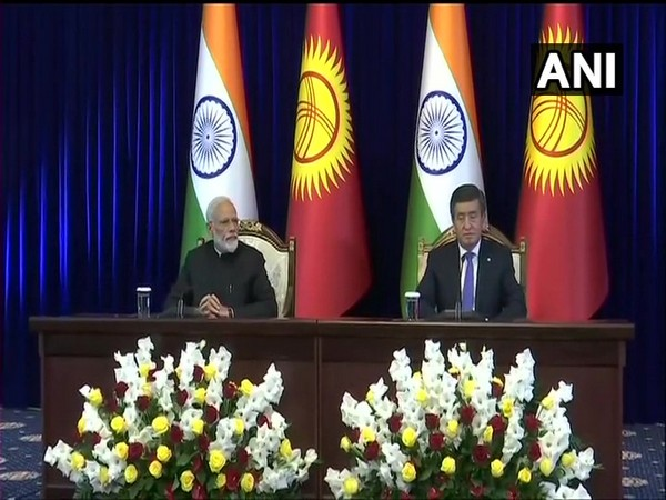 Prime Minister Narendra Modi and Kyrgyzstan President Sooronbay Jeenbekov after their delegation-level talks in Bishkek on Friday.