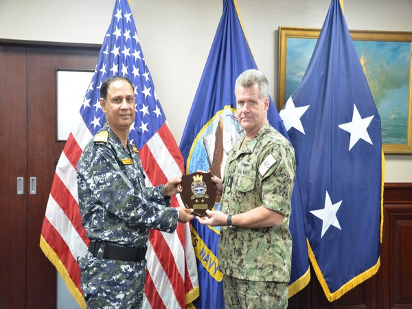 Rear Admiral Ajay Kochhar, NM, Flag Officer Commanding Western Fleet called on Vice Admiral Samuel Paparo, Commander, Commander, Fifth Fleet, US Navy at Mina Salman harbour, Bahrain.