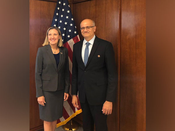 Foreign Secretary Vijay Gokhale and Andrea Thompson, Under Secretary of State for Arms Control and International Security in Washington DC on Wednesday. (CREDITS: MEA TWITTER)