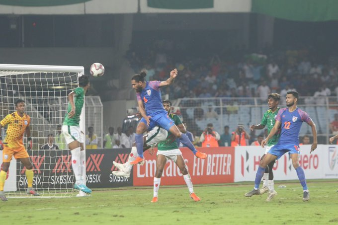 Adil Khan scored an equaliser in the 88th minute. (Photo/Indian Football Team Twitter)