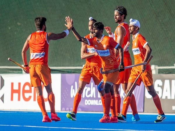 Team India celebrating Rupinder's goal (Image: Hockey India)