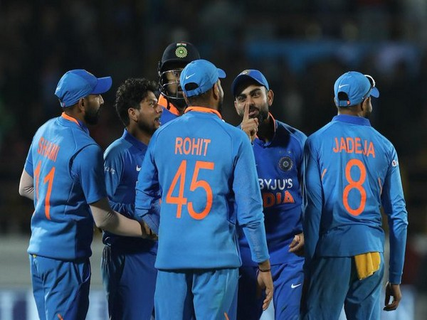 The Indian team celebrating after winning the second ODI by 36 runs. (Photo/ICC Twitter)