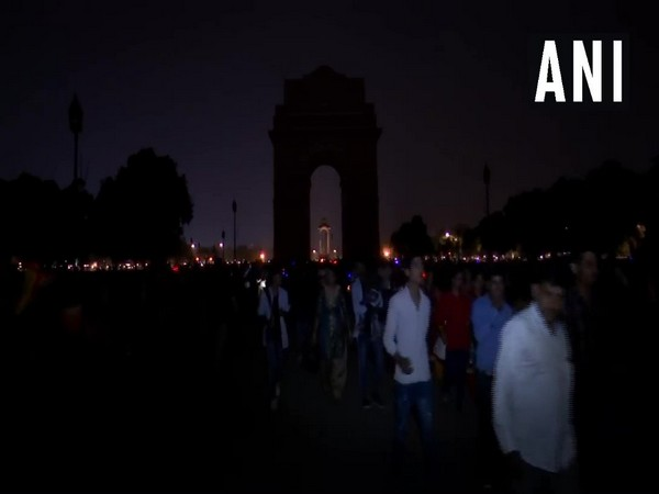 Lights were switched off at the India Gate in New Delhi to observe the Earth Hour 2019 on Saturday. Photo.ANI