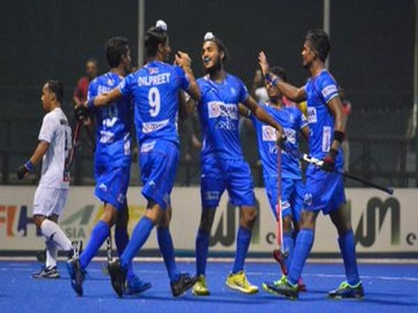 Indian team celebrating after defeating New Zealand 8-2. (Photo/Hockey India Twitter)
