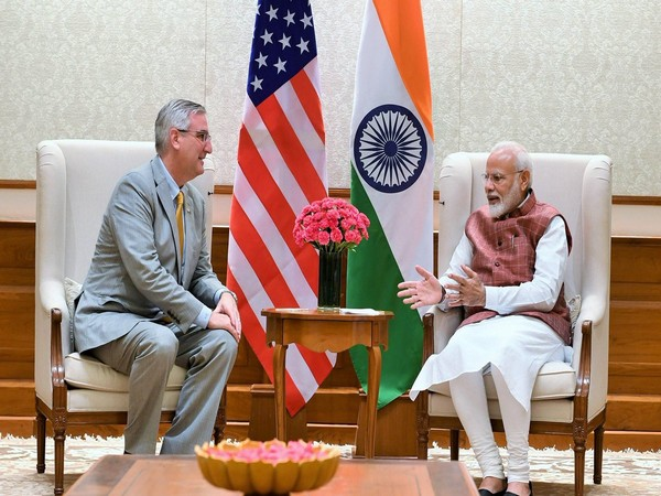 Prime Minister Narendra Modi with Governor of Indiana state Eric Holcomb (Picture Credit: Eric Holcomb/Twitter)